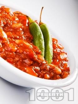 Чили кон карне -  мексиканско ястие с кайма, боб и домати - снимка на рецептата
